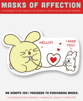 Masks of Affection I miss You Vinyl Sticker Pack (4) by Fat Rabbit Farm