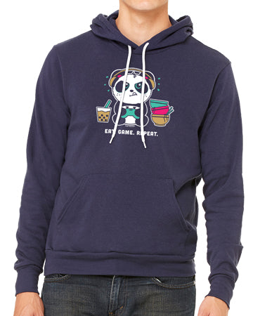 Eat. Game. Repeat Unisex Sponge Fleece Pull-Over Hoody by Pandi the Panda