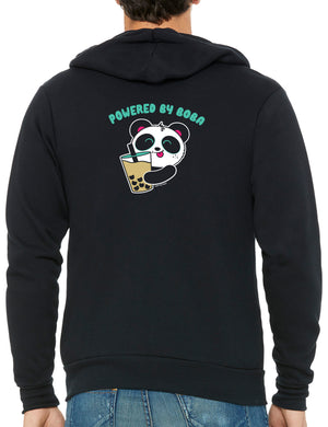 Powered By Boba Zip-up Hoodie by Pandi the Panda