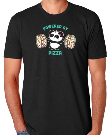 Powered By Pizza Men's T-shirt by Pandi the Panda