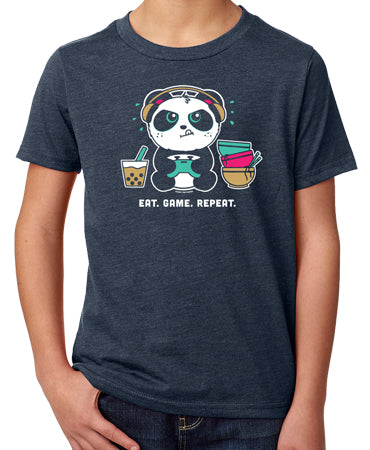 Eat. Game. Repeat Kid's T-shirt by Pandi the Panda