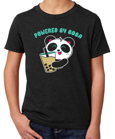 Powered By Boba Kid's T-shirt by Pandi the Panda