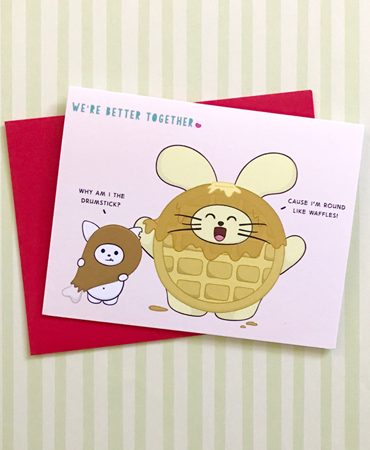Better Together: Chicken + Waffle Greeting Card by Fat Rabbit Farm