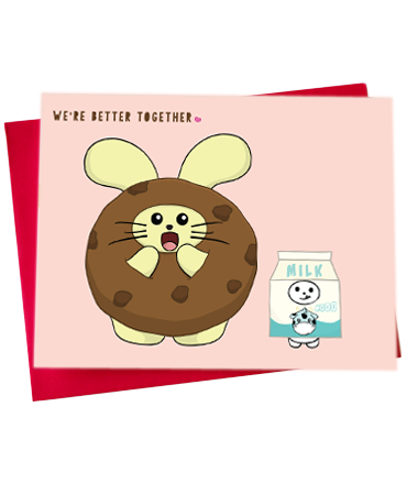Better Together: Cookie + Milk Greeting Card by Fat Rabbit Farm