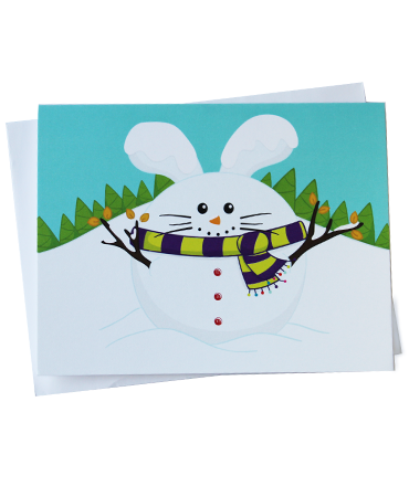 Snowman Babee Winter Greeting Card by Fat Rabbit Farm