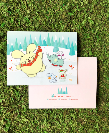 Snow Fun Winter Greeting Card by Fat Rabbit Farm