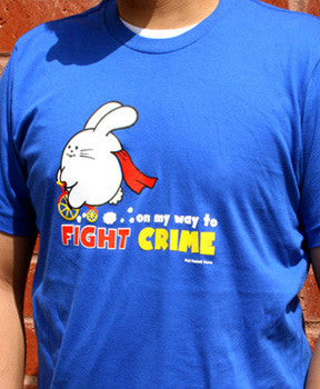 On My Way To Fight Crime Men's T-shirt by Fat Rabbit Farm