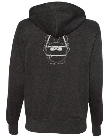 Ninja Time Unisex Zip-Up Hoodie by Fat Rabbit Farm