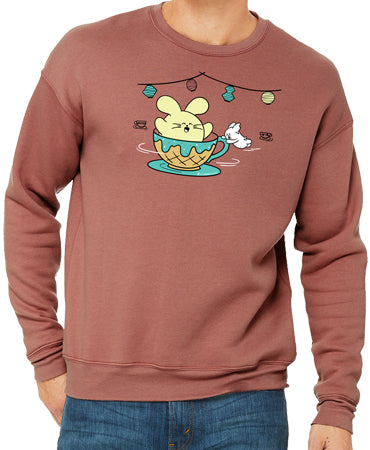 Ice Cream Tea Cup Ride Unisex Fleece by Fat Rabbit Farm