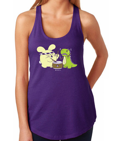 Taiko with T-Rex Tank Top by Fat Rabbit Farm