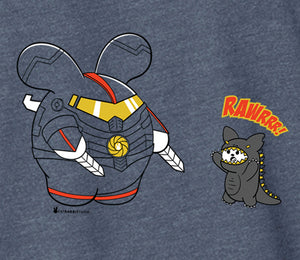 Robot vs. Kaiju Men's T-shirt by Fat Rabbit Farm