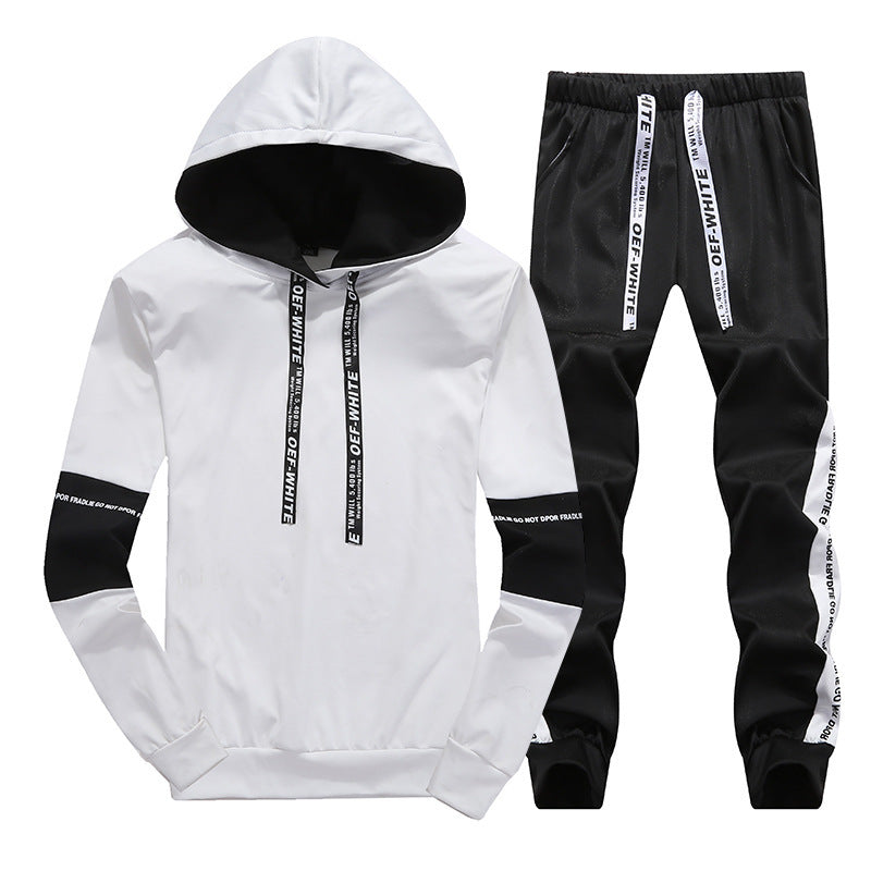 Hooded stripe letter sports suit-Mens-Smart Ab Now