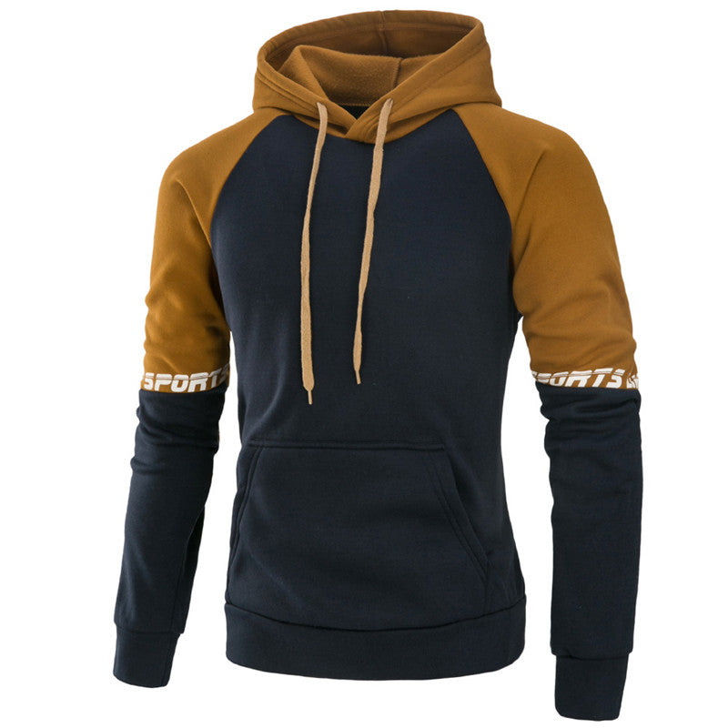 Long sleeve color blocking sports hooded Pullover-Mens-Smart Ab Now