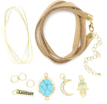Load image into Gallery viewer, Mini DIY Wrap Bracelet Kit Gold & Turquoise