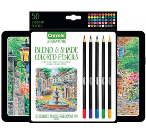 Crayola Signature Blend & Shade Colored Pencil Set with Decorative Tin - 50 Count