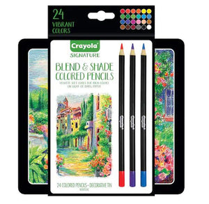 Crayola Signature Blend & Shade Colored Pencil Set with Decorative Tin - 24 Count