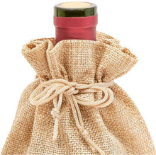 Load image into Gallery viewer, Burlap Wine Bag with Drawstring