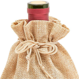 Burlap Wine Bag with Drawstring