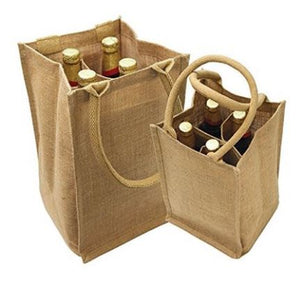 Jute Burlap 4 Bottle Wine Carrier Reusable  w/ Dividers