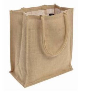 Natural Jute Burlap 6 Bottle Wine Tote Bag Reusable w/ Divider