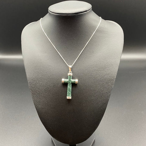 Sterling Silver Necklace and Green Cross Jadeite Pendant