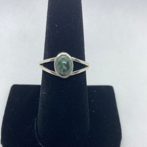 Sterling Silver Jadeite Ring SIZE 8.75