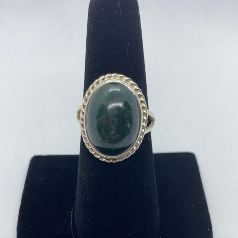 Sterling Silver Jadeite Ring SIZE 8.50