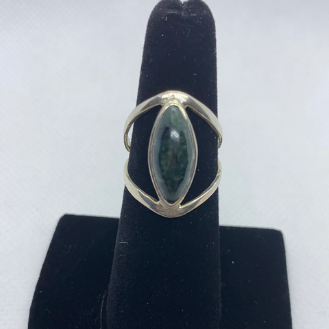 Sterling Silver Jadeite Ring SIZE 7.25