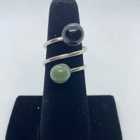 Sterling Silver Jadeite Ring SIZE 6-7