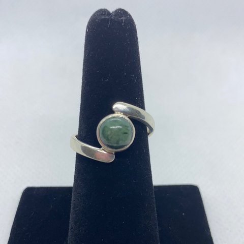 Sterling Silver Jadeite Ring SIZE 8.25