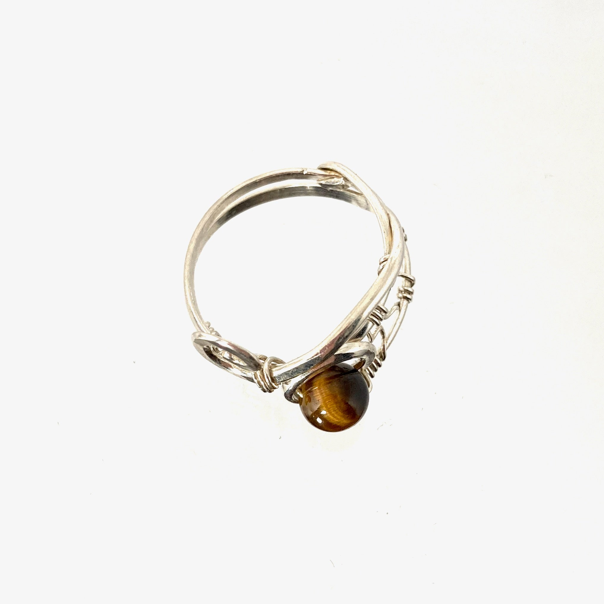 Silver Twist and Tiger Eye Ring