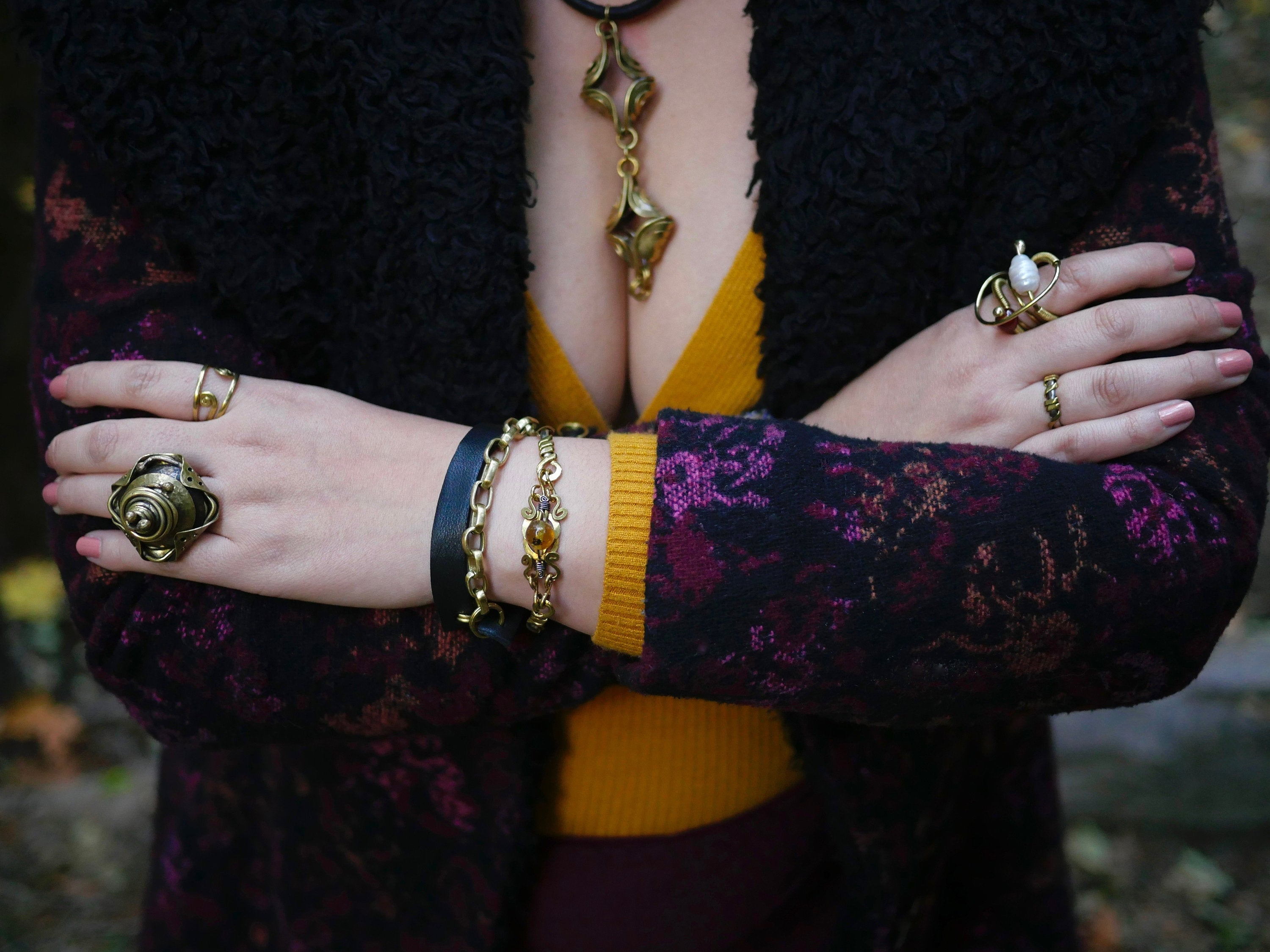 Two in One - Stylish Leather and Brass Bracelet or Necklace