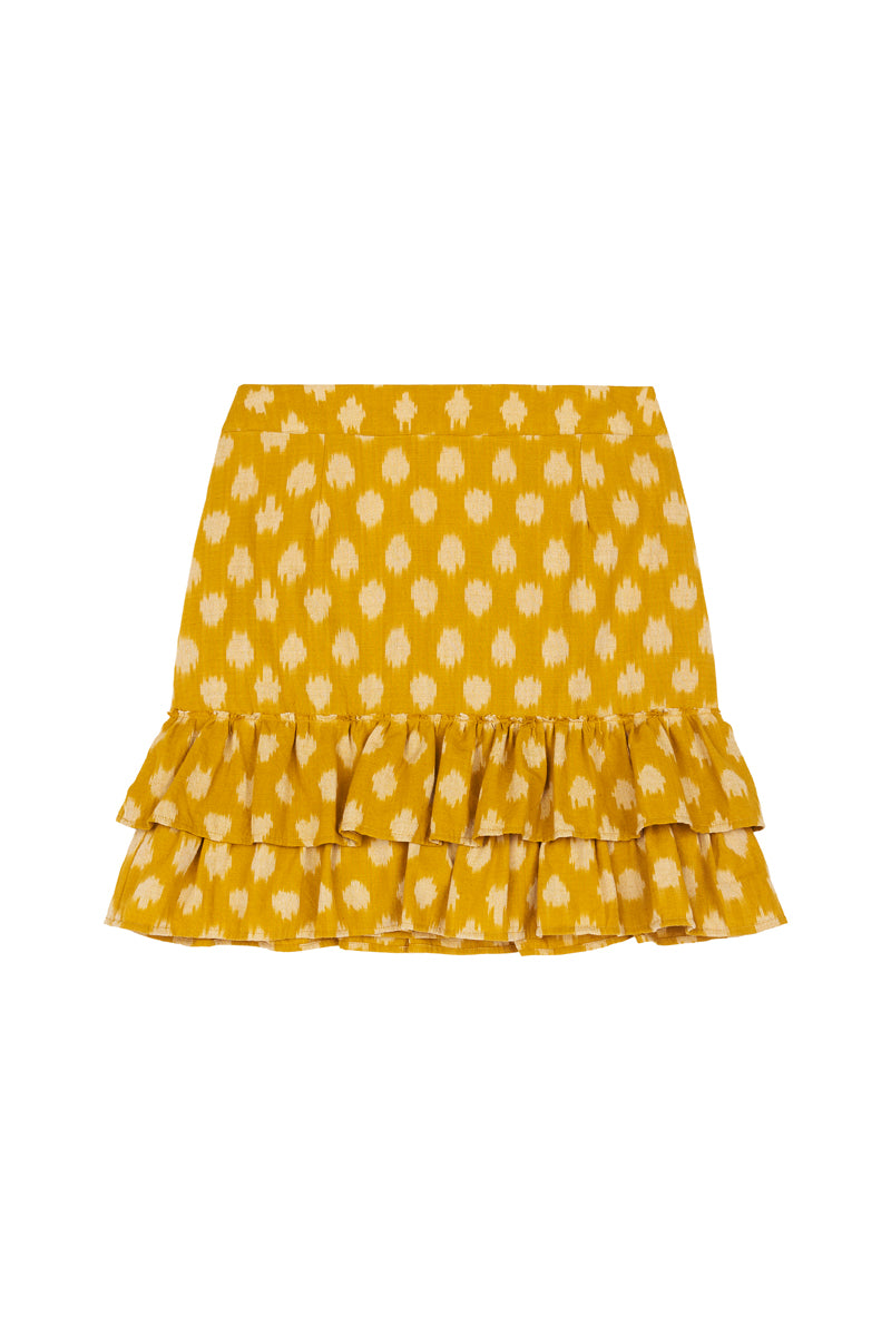 New Dawn Skirt - Turmeric Polka Dot