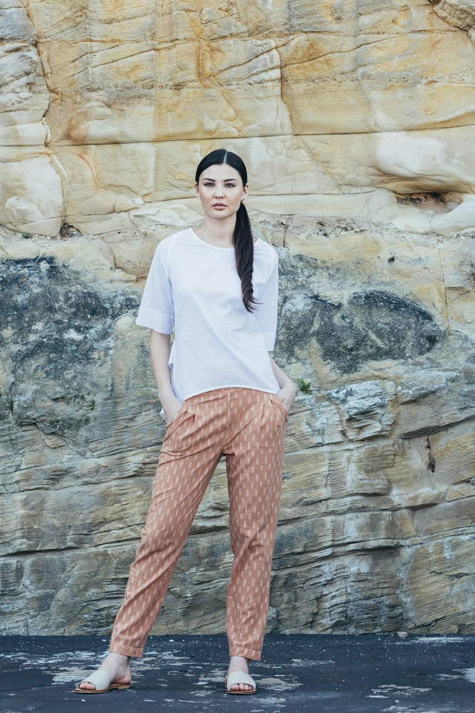 Traveller Pants - Peach with white dash