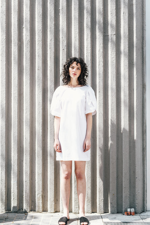 Petal Sleeve Dress - Handwoven white