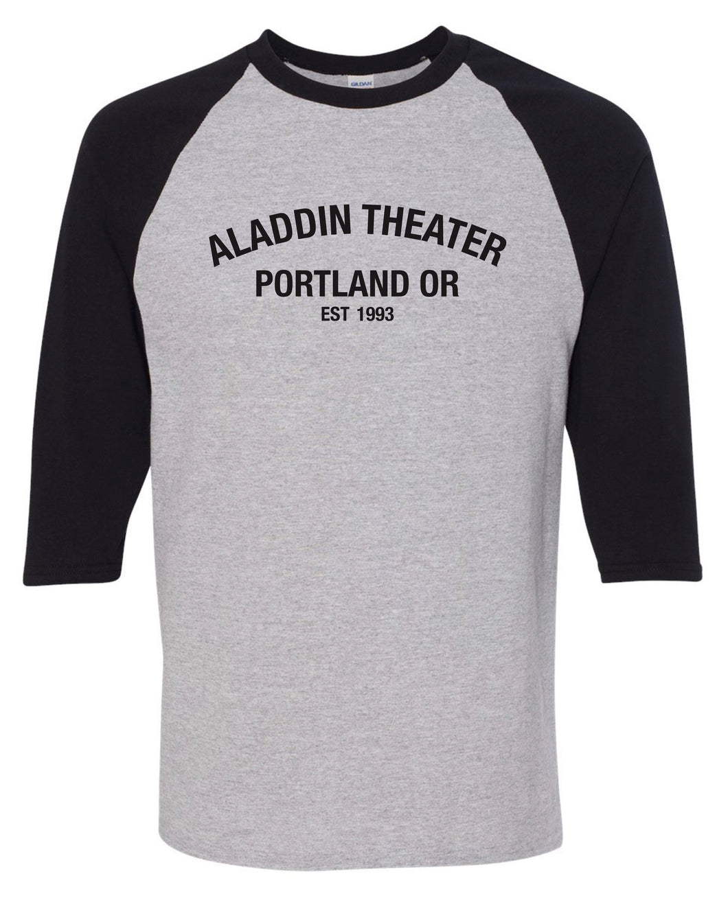Aladdin Theater 3/4 Sleeve Baseball Tee - Grey