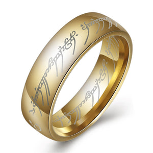 Titanium gold steel ring with LOTR Elvish Tenwar scripture. A must-have for a Lord of the Rings fan