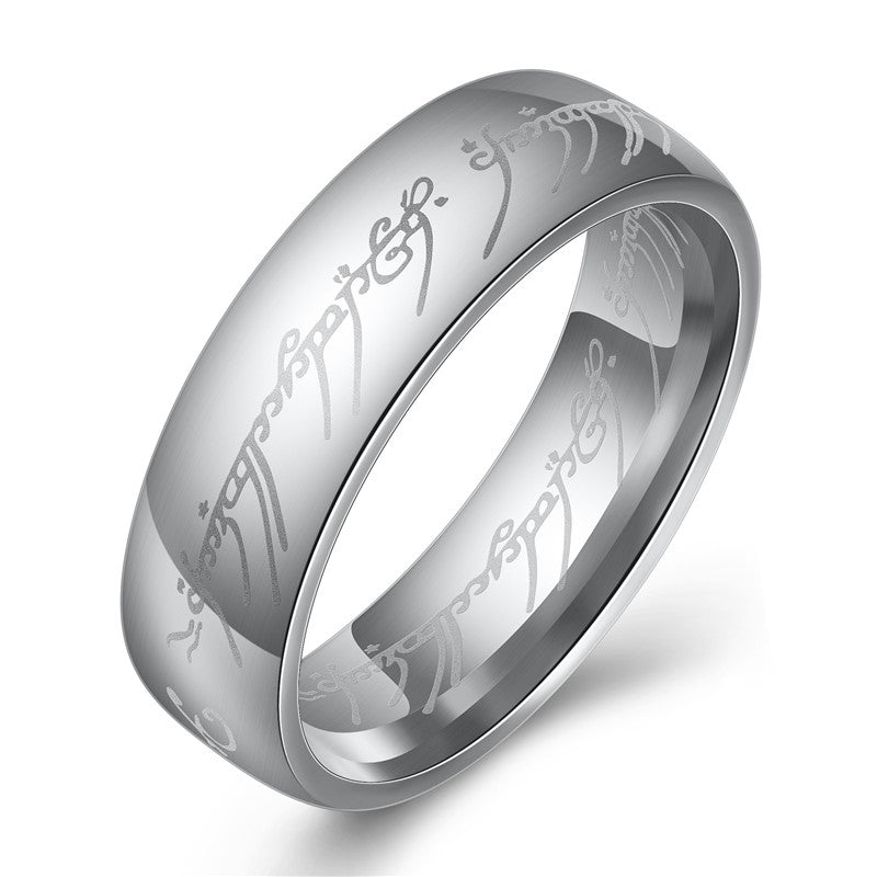 Titanium metal steel ring with LOTR Elvish Tenwar scripture. A must-have for a Lord of the Rings fan
