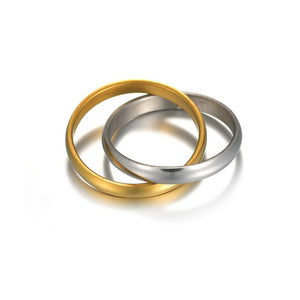 Titanium Steel Double band ring in polished silver and gold.