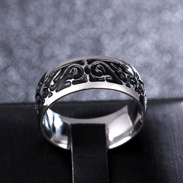 Titanium alloy ring with ornamental Medieval pattern (unisex) 8mm wide.