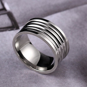 Titanium alloy ring with recessed relief bands (unisex) 8mm wide.