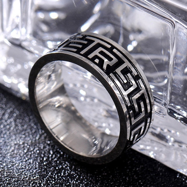 Titanium alloy ring with classic greek meander pattern (unisex) 8mm wide.
