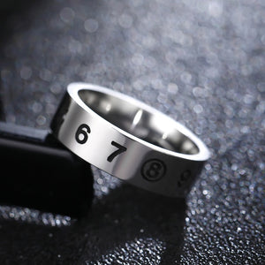 Titanium alloy ring with numbers(unisex) 8mm wide.