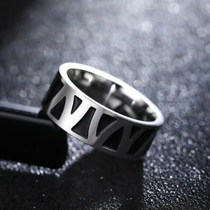 Titanium alloy ring with black background and branchlike pattern (unisex) 8mm wide.