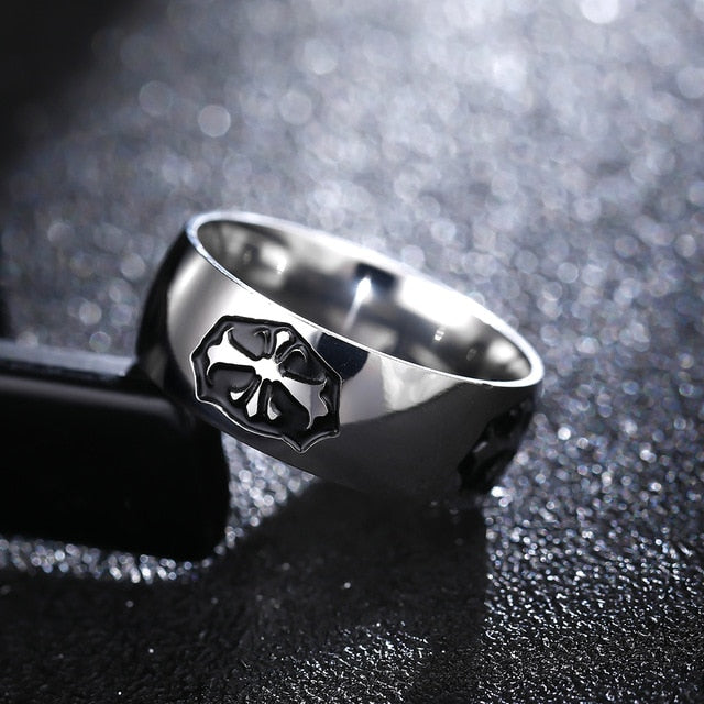 Titanium alloy ring with Lotus flower in black inset  (unisex) 8mm wide.