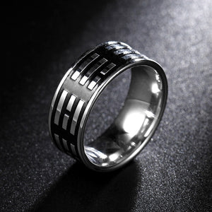 Titanium alloy ring with black background and silver bands (unisex) 8mm wide.
