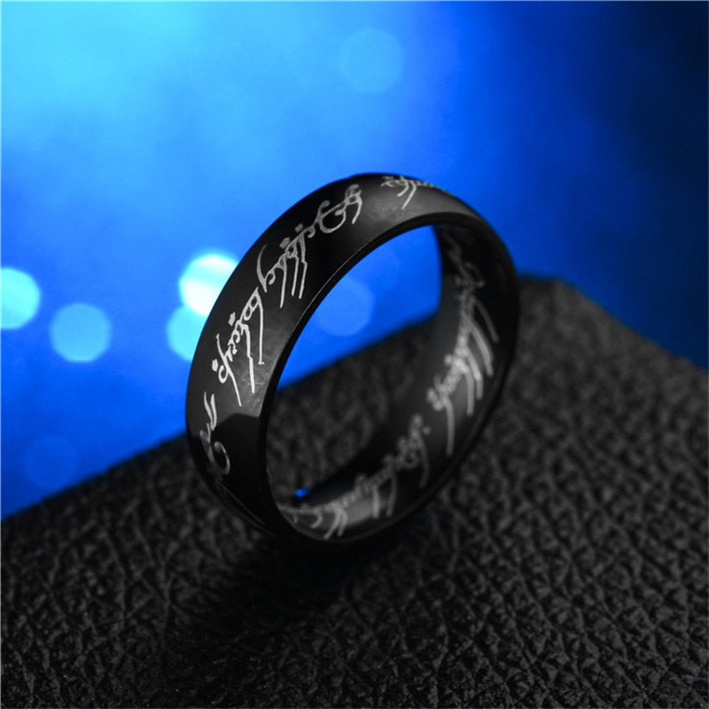 Titanium black steel ring with LOTR Elvish Tenwar scripture. A must-have for a Lord of the Rings fan