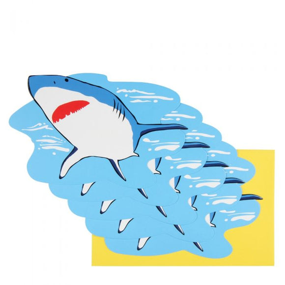 PAPERCHASE: 10 FLAT CARD INVITATIONS (SHARK)