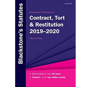 Blackstone's Statutes on Contract, Tort & Restitution 2019-2020