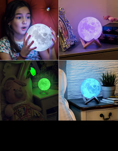 3D Moon LED Lamp Great for Kids, Home Decor & Galaxy Lovers